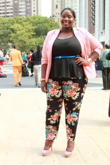 Alissa of Stylish Curves rocked a pink blazer from One Stop Plus, floral pants by Simply Be, and a very on-trend peplum top from Torrid.