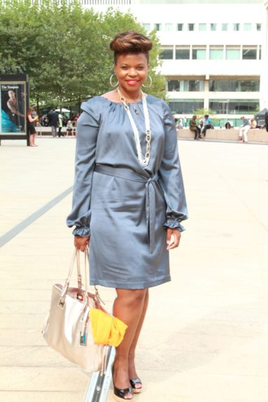 Marcia Cole of Ambermag.com was sighted in Donna Ricco. Love her hair and that red lip!