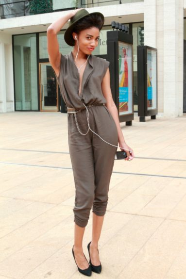 Danielle S. Gordon clearly knows the art of thrifting, in her head to toe vintage menswear inspired look.