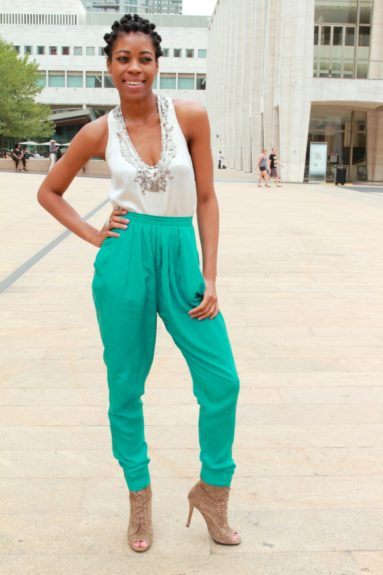 Maryam Moma paired her silk top from Bebe with green Bensoni silk pants and shoes by Buddah, and rocked bantu knots for an effortlessly chic look.