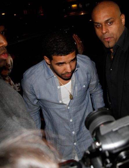 March 27, 2012: Drake arriving at his after party at London's DSTRKT nightclub after kicking off the first leg of his Club Paradise European tour in London, UK.