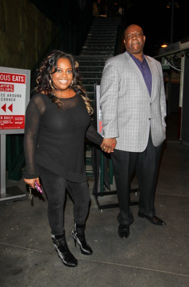 """March 26, 2012: After a live performance on """"Dancing With The Stars,"""" contestant Sherri Shepherd is seen leaving Mixology 101 lounge in Los Angeles, CA with husband Lamar Sally."""