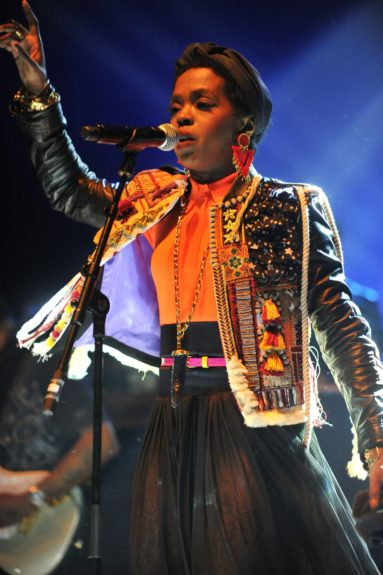 Lauryn Hill pictured performing in concert at the L'Olympia in Paris, France.