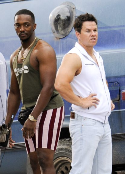 """Anthony Mackie and : Mark Wahlberg on the set of """"Pain and Gain"""" filming in Miami Beach, Florida."""