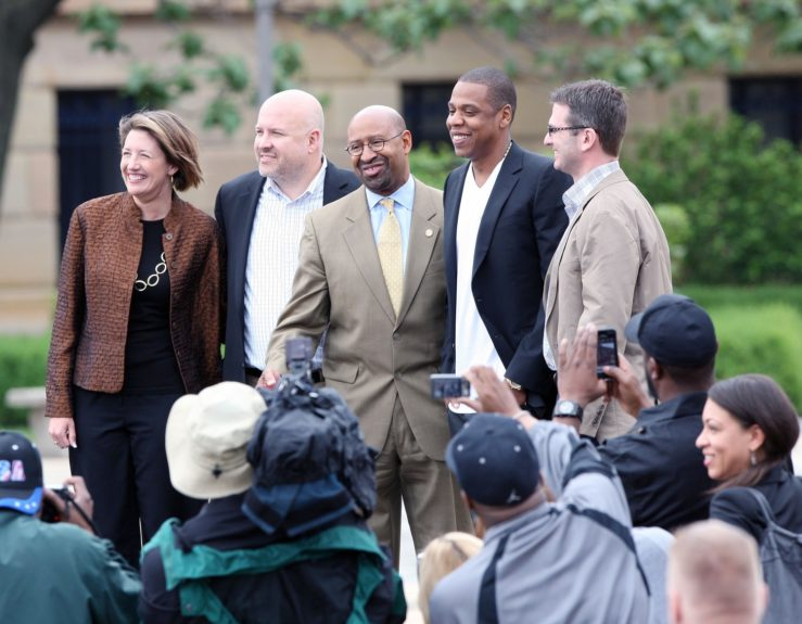 Jay-Z on the steps of The Philadelphia Museum of Art to announce an upcoming Labor Day weekend music festival in Philadelphia, Pennsylvania which will feature over 30 acts.