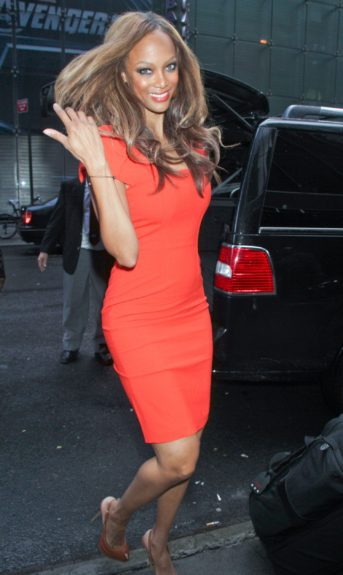 Tyra Banks at ABC Studios in New York City for an appearance on 'Good Morning America' to discuss Vogues ban on anorexic models.