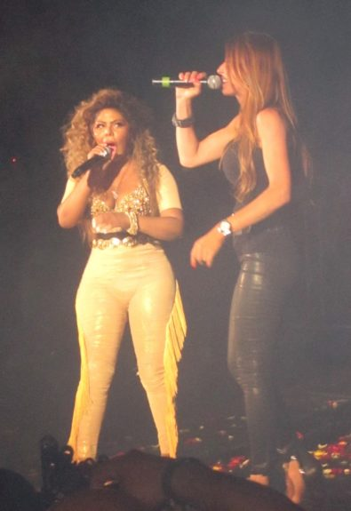 Lil Kim and Drita D'Avanzo performing at the Paradise Theater in the Bronx borough of New York City.