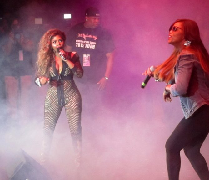 Lil Kim and Eve performing at the Paradise Theater in the Bronx borough of New York City.