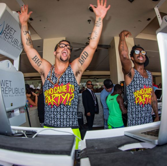"Sky Blu of LMFAO and Shwayze as Sky Blu launches DJ residency (""Who Wants To Party?"") at Wet Republic Ultra Pool in Las Vegas, NV."