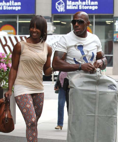 'Dancing with the Stars' winner, Donald Driver, leaves his hotel with his wife, Bettina Driver, in New York City.