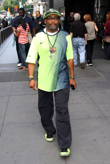 Director Spike Lee is hard to miss in a neon green shirt and matching shoes near Columbus Circle in New York City.