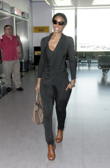 Kelly Rowland seen arriving at Heathrow Airport in London, UK.