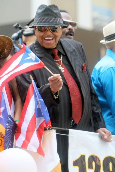 Not sure why but... : Joe Jackson joins the 2012 National Puerto Rican Day Parade in New York City.