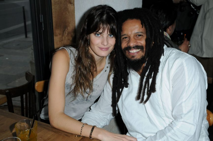 Former football player and son of late reggae artist Bob Marley and Janet Hunt, Rohan Marley pictured with his fiancee Isabeli Fontana in Paris, France.