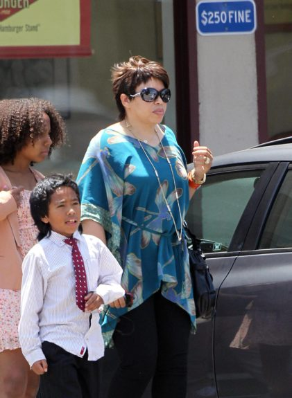 Tisha Campbell-Martin takes her kids to eat at Fatburger in Los Angeles, California.