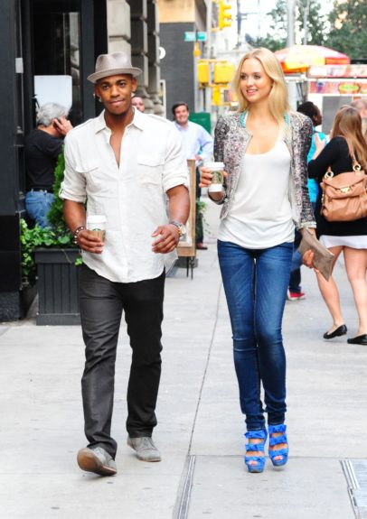 Mehcad Brooks out and about getting some Starbucks in New York City with a mysterious blonde.