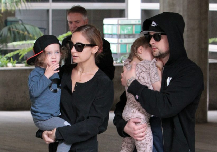 The Richie-Madden family are seen arriving at LAX aiport today from Australia where Joel Madden just wrapped 'The Voice.'