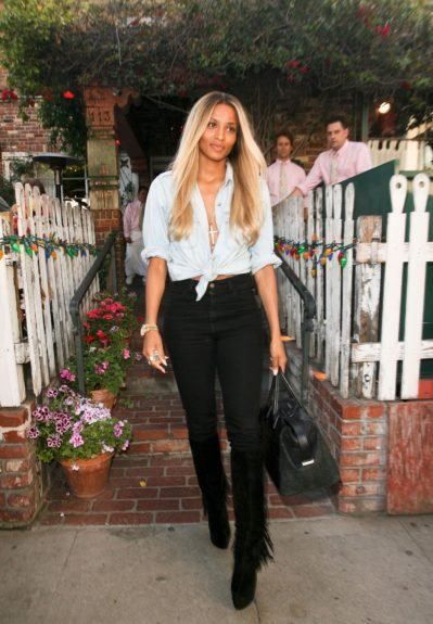 Ciara pictured having lunch at The Ivy in West Hollywood, California.