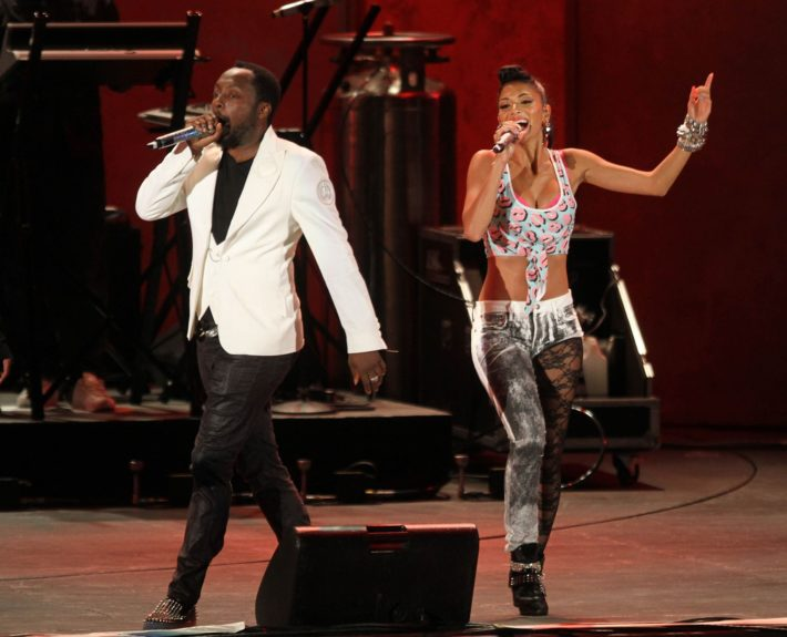 Nicole Scherzinger and Will.i.am perform at the celebration of Global Filipino Music Festival at Hollywood Bowl in Hollywood, California.