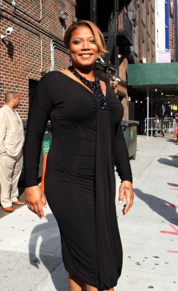 Queen Latifah is photographed dressed in all black today while leaving a morning show appearance in New York City.