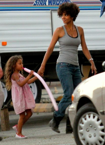 "Halle Berry pictured on the set of ""The Hive"" with daughter Nahla Aubry in Los Angeles, California."