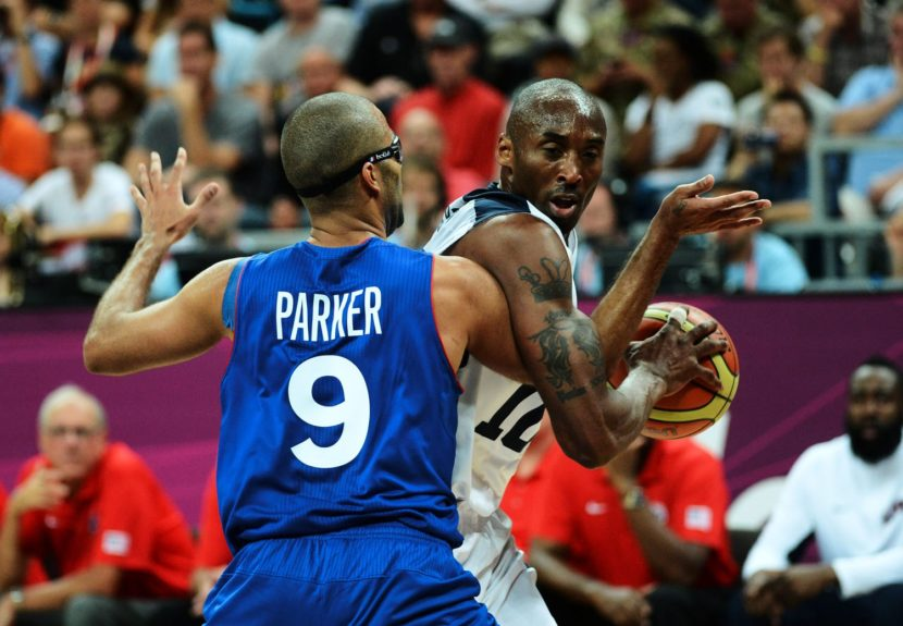 Tony Park and Kobe Bryant during the London Olympics of USA Vs. France in the UK.