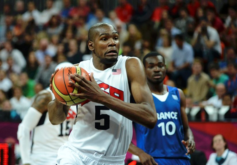 Kevin Durant during the London Olympics of USA Vs. France in the UK. The USA beat France 98-71.