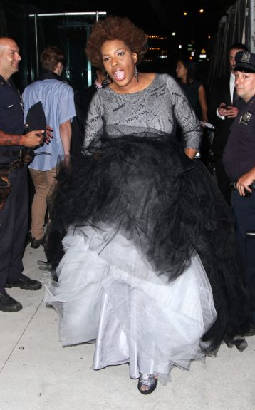 Macy Gray arriving at an event in New York City wearing an oversized tulle ball gown.
