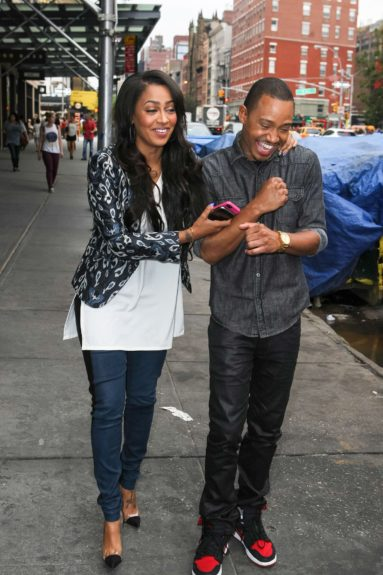La La Anthony hangs out with her 'Think Like A Man' costar Terrance J in New York City.
