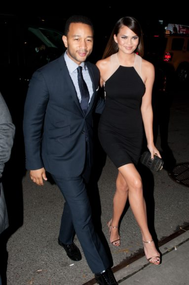 John Legend and Christine Teigen arriving at Annie Leibovitz's Latest Photography Exhibit Launch of The Macallan Masters of Photography collection at the hotel Bowery in New York City.