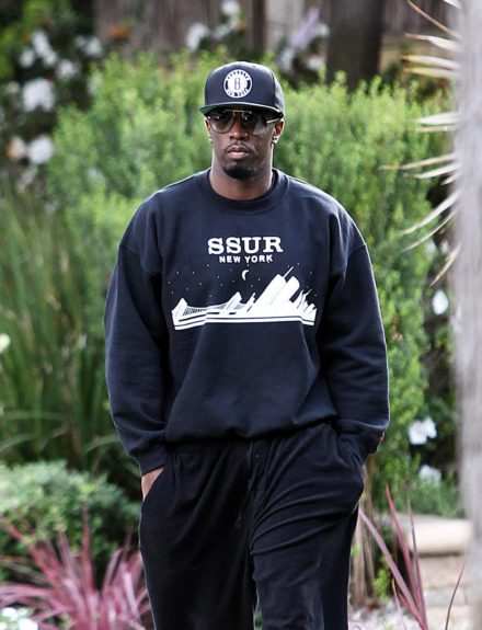 Sean 'P. Diddy' Combs is spotted leaving his ex's house after visiting his kids wearing a Brooklyn Nets hat in Los Angeles, CA.