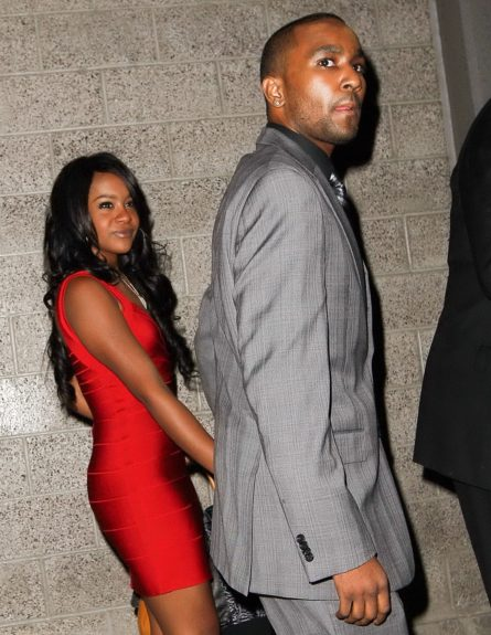 Bobbi Kristina Brown and Nick Gordon, her adopted brother and reportedly her new fiance, hold hands as they leave Nokia Theatre in Los Angeles, California