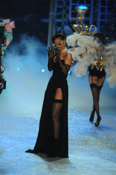 Rihanna performs on stage during the 2012 Victoria's Secret Fashion Show held at the Lexington Avenue Armory in New York City.