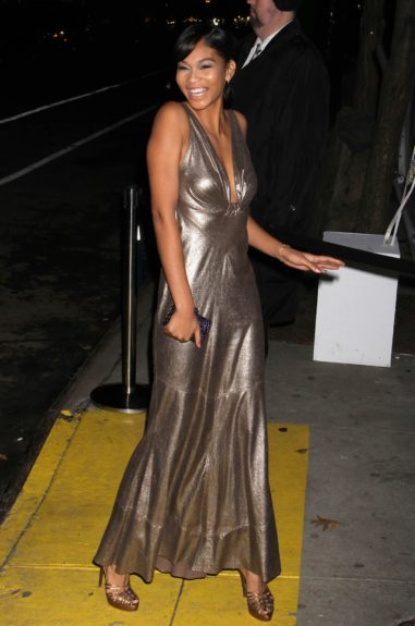 Chanel Iman arriving at the 2012 CFDA/Vogue Fashion Fund Awards held at Center 548 in New York City.
