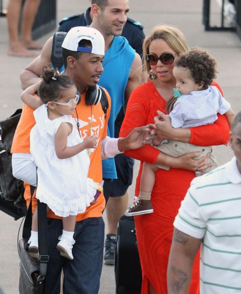 Mariah Carey, Nick Cannon and their twins, Monroe Cannon and Moroccan Cannon leave their yacht in Queensland, Australia. The couple took their children sailing around the Great Barrier Reef.