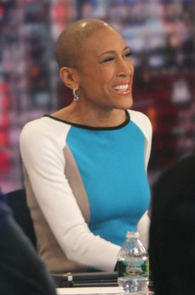 Robin Roberts host of 'Good Morning America' at a test run for her return back to work at GMA after her bone marrow transplant in New York City.