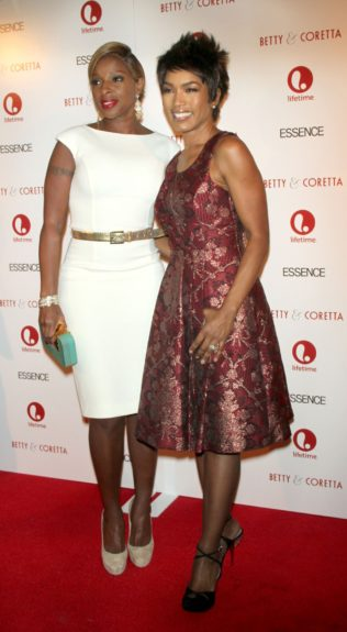 Mary J. Blige and Angela Bassett arriving at the 'Betty & Coretta' Premiere in New York City.