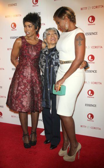 Angela Bassett, Ruby Dee, and Mary J. Blige arriving at the 'Betty & Coretta' Premiere in New York City.