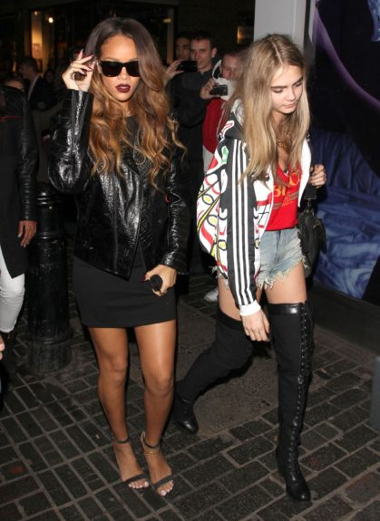 Rihanna celebrates debut of her High Street River Island collection during London Fashion Week at The Box nightclub, London.