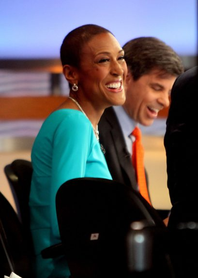 Robin Roberts returns to work on Good Morning America in New York City.