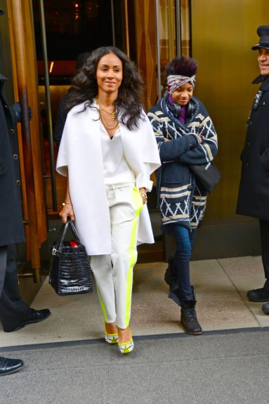 Jada Pinkett Smith and Willow Smith were pictured leaving The Trump Soho Hotel.