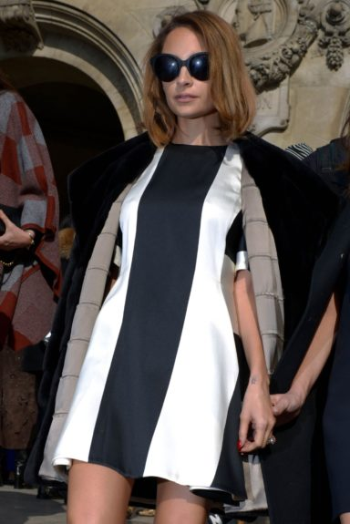 Nicole Richie is photographed at the Stella McCartney fashion show in Paris.