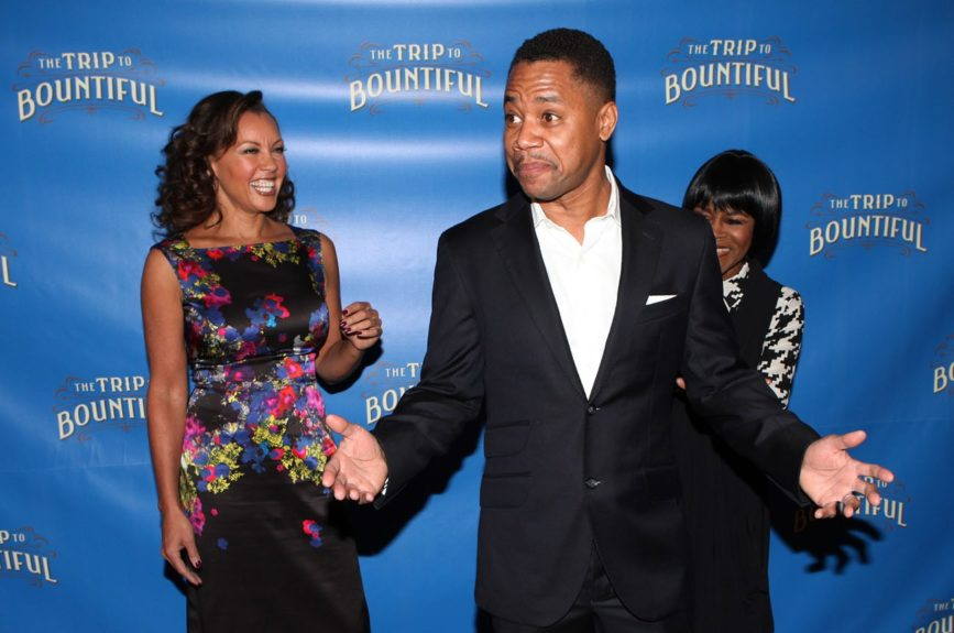 Cuba Gooding Jr. jokes with his <em>The Trip To Bountiful</em>castmates Vanessa Williams and Cicely Tyson.