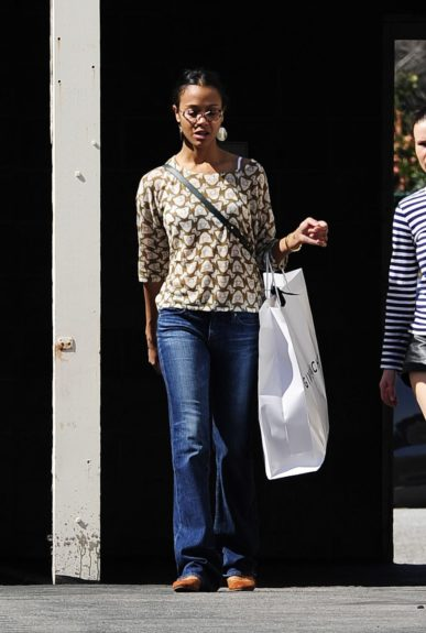 Zoë Saldana is seen doing some shopping with a friend in Los Angeles.