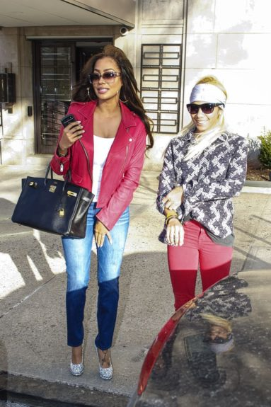 LaLa Anthony and her cousin out and about on Fifth Avenue in Manhattan.