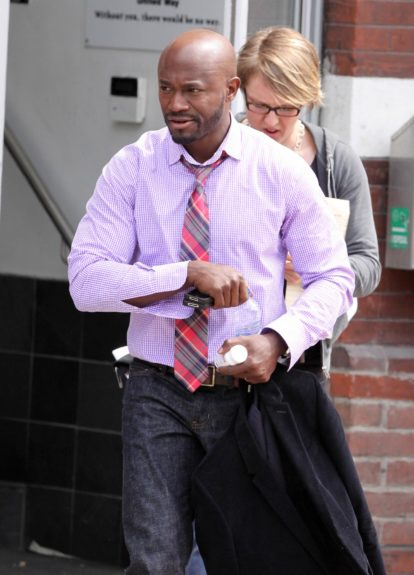 Taye Diggs spotted on set of <em>The Best Man Holiday</em>.