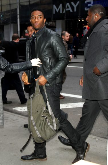 Chadwick Boseman arrives at <em>Good Morning America</em> to talk about his new movie <em>42</em> in New York City.