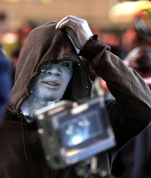 Jamie Foxx plays his character Electro on the Times Square set of the new movie <em>The Amazing Spider-Man 2</em> in New York City.