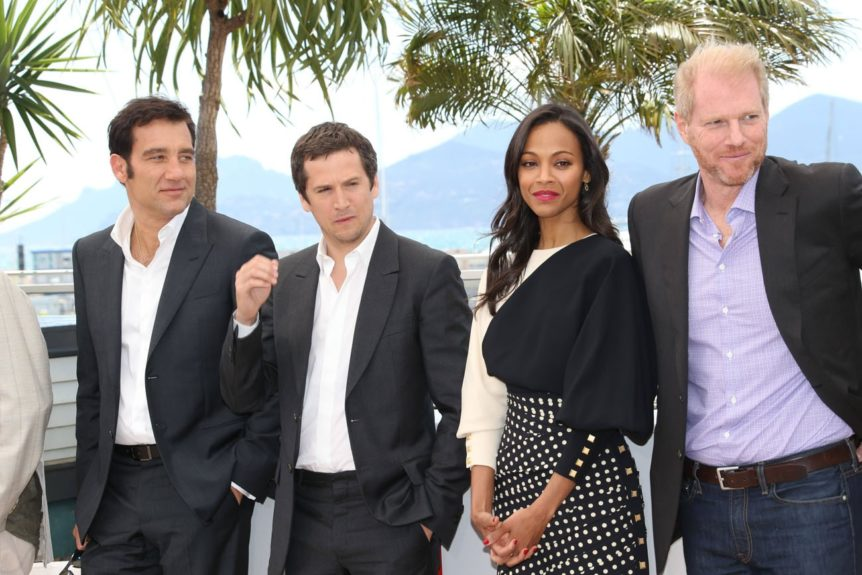 Clive Owen, Guillaume Canet, Zoe Saldana and Noah Emmerich attending the photocall for <em>Blood Ties </em>at the 66th Annual Cannes Film Festival in Cannes, France.