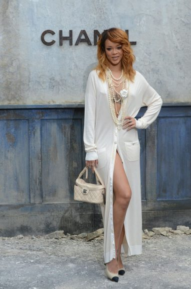 Rihanna seen attending the Chanel show as part of Paris Fashion Week Haute-Couture Fall/Winter 2013-2014 at Grand Palais in Paris.
